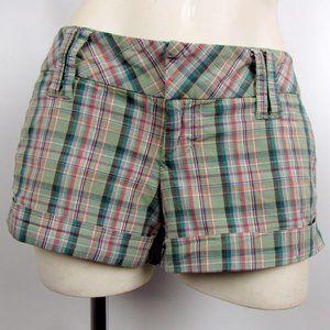 Spacegirlz Green Plaid Cotton Low-Rise Shorts Sz 7